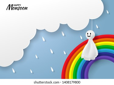 Happy monsoon, Rainy Season background. Doll chasing rain hanging, rainbow and cloud on blue sky. paper art style.vector.