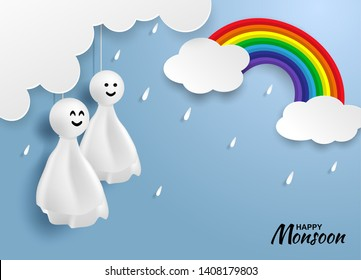Happy monsoon, Rainy Season background .Doll chasing rain hanging ,rainbow and cloud on blue sky. paper art style.vector.