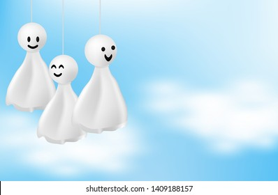 Happy monsoon, Rainy Season background .Doll chasing rain hanging and cloud on blue sky. vector.
