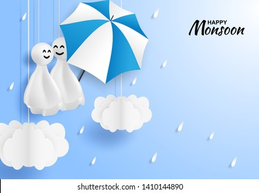 Happy monsoon, Rainy Season background .Doll chasing rain hanging and cloud on blue sky. paper art style.vector.