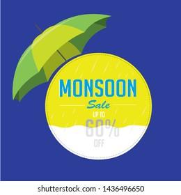 HAPPY MONSOON SALE UNIT, LOGO, BANNER, Mnemonic with Umbrella over, season, monsoon