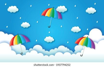 happy monsoon season background. rainbow in the rainy. paper art style. vector illustration.