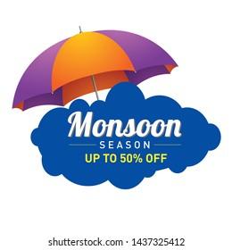 HAPPY MONSOON SEASON LOGO UNIT, Template, Banner, Logo Design, Poster, Label, Web Header, Background Mnemonic with Umbrella, Monsoon season raining drops