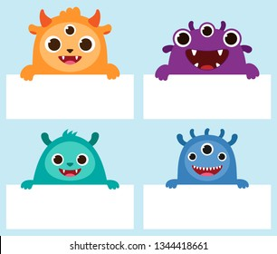 Happy monster holding frames set. Cute funny cartoon characters for Halloween background, birthday party card or invitation. Vector illustration