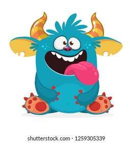 Happy monster showing tongue. Cartoon illustration. Vector isolated