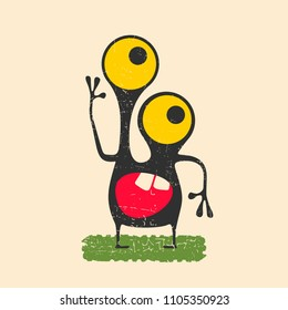 Happy monster with yellow eyes standing on green grass. Cute alien on grunge background.  Cartoon illustration