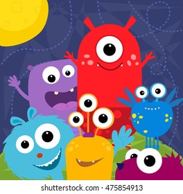 Happy Monsters - Colorful and cute monsters greeting card design. Eps10