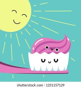 Happy morning brushing teeth in bathroom, Habituate kid card.