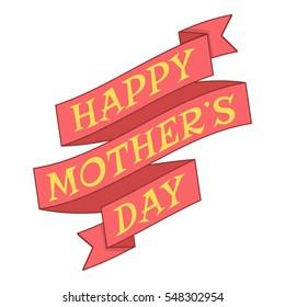 Happy Moters Day ribbon icon. Cartoon illustration of Happy Moters Day ribbon vector icon for web