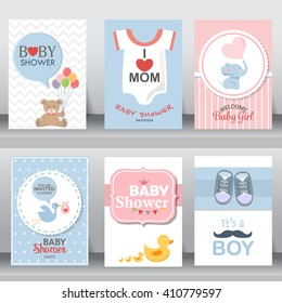 happy mother and baby shower for newborn celebration greeting and invitation card. shoe, dress, bird, elephant, brochure layout template in A4 size. vector illustration.