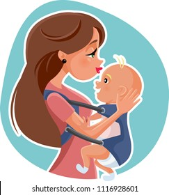Happy Mother with Baby  Vector Illustration. Maternal love concept illustration