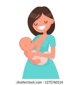 Happy mother is breastfeeding a baby. Vector illustration in flat style