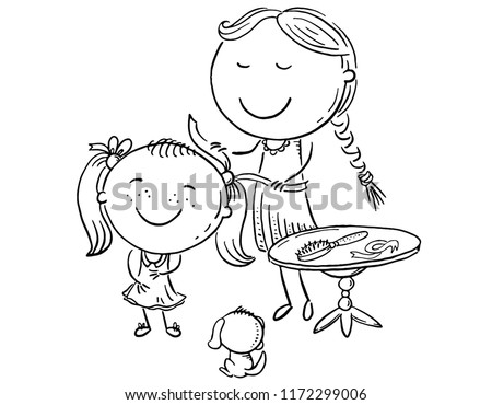 Happy Mother Combing Her Daughters Hair Stock Vector Royalty Free