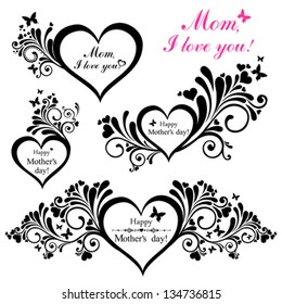 Happy mother day background. Collection of design elements vintage set isolated on White background. Vector illustration