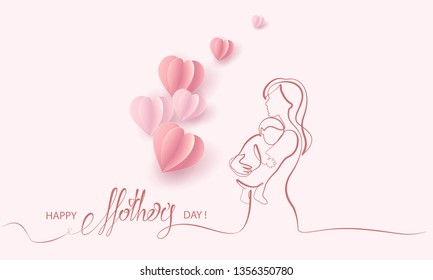 Happy Mother day card. Continuous one line drawing. Woman hold her baby with air balloons shaped as heart. Vector illustration
