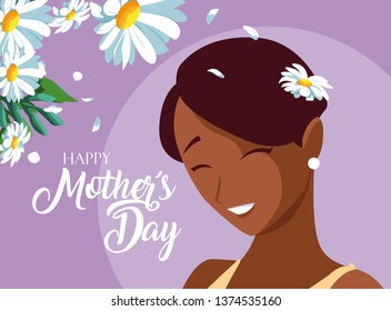 happy mother day card with cute mom black
