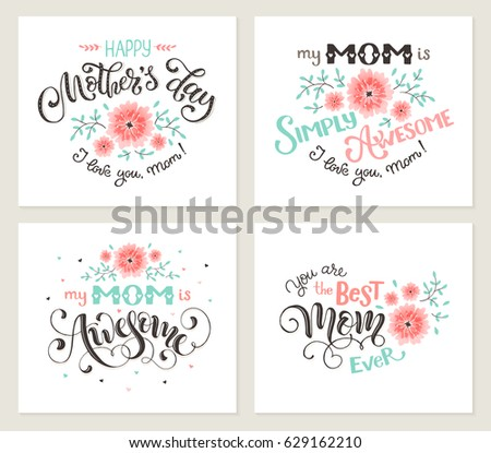 Happy mother day greeting card set stock vector royalty free happy mother day greeting card set my mom is awesome best mom ever m4hsunfo