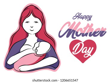 Happy Mother Day illustration with Female color theme. EPS 10