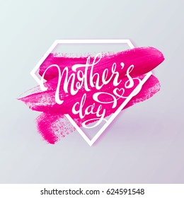 Happy Mother Day, Spring holiday vector background. Super mom, diamond shape, lipstick pink mark texture. Vector illustration