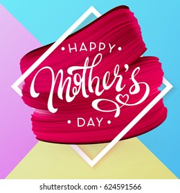 Happy Mother Day, Spring holiday pink, blue and yellow background. Lipstick red mark texture in frame. Vector illustration