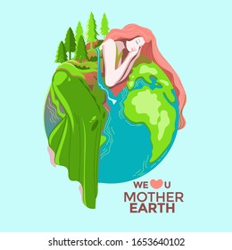 Happy Mother Earth Day Greeting Card Vector Illustration with Women Earth Map and green nature background