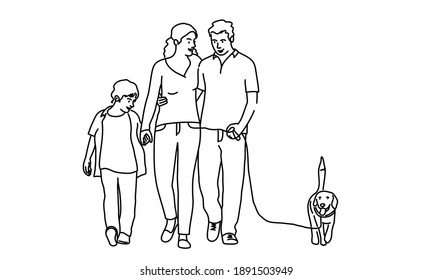Happy mother, father, son walking the dog. Hand drawn vector illustration.