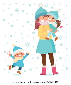 Happy mother with her kids playing outdoors. Winter time, snowy weather. People in warm clothes. Flat vector illustration, cartoon style.