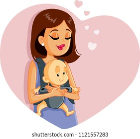 Happy Mother Holding Baby Vector Illustration. Maternal love concept illustration
