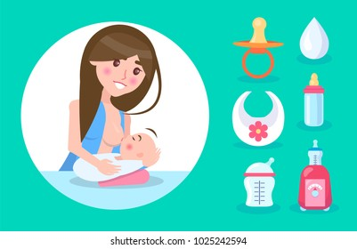 Happy mother lactating small son, colorful banner, vector illustration isolated on bright green backdrop, white circle, drop bib and varied bottles