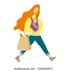 Happy motherhood concept. Mom with a baby and grocery bag. Supermom, busy mother. Vector illustration of mother and her child. Happy mom and her baby.