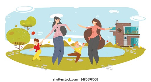 Happy Mothers with Children Having Fun in Yard Craft Cartoon. Two Women and Sons Playing near Lake. Suburb Area, Rural Scene. Cozy Modern Townhouse on Natural Backdrop. Vector Flat Illustration