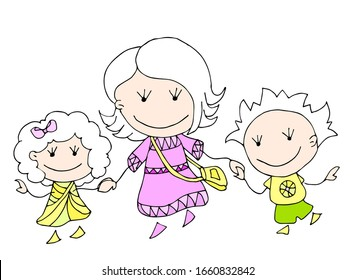 Happy Mother's day. 8 March. Black and white cute cartoon hand drawing family isolated on white background. Vector illustration. Can be used for t-shirt print, fashion design, poster invitation card.