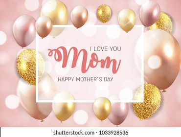 Happy Mother`s Day Background with Balloons. Vector Illustration EPS10