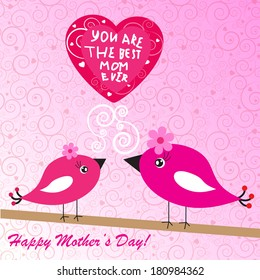 Happy mother's day background with birds and heart on the pink phone with spirals