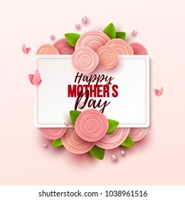 Happy Mother`s Day background with flowers. Vector illustration.