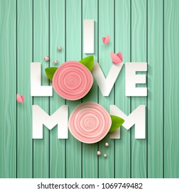 Happy Mothers Day background with flowers. Vector illustration