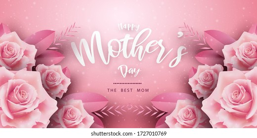 Happy Mother's Day background with rose design. Vector illustration for website, posters, coupons.