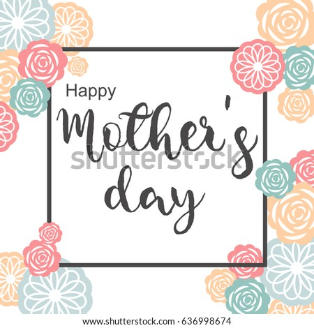 Happy Mothers Day Banner With Flower Background