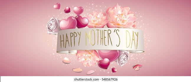 Happy mothers day banner full vector elements