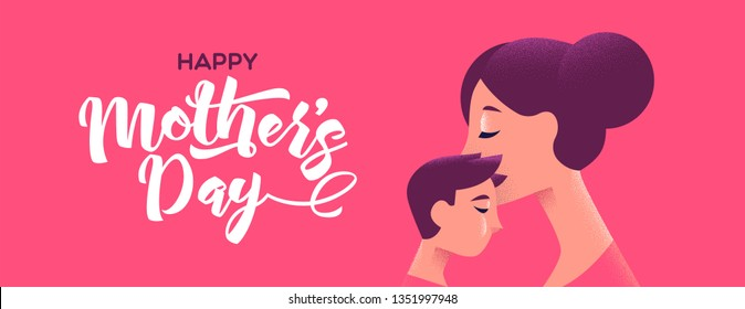 Happy Mothers Day banner illustration for special mother holiday. Mom kissing son on pink color background with text quote.