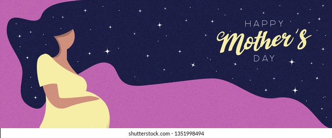 Happy Mothers Day banner illustration. Pregnant woman with long hair for motherhood concept or mother love.