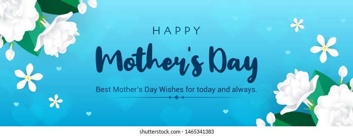 Happy Mother's Day Banner Vector illustration. Thai Jasmine flowers frame on blue bokeh background