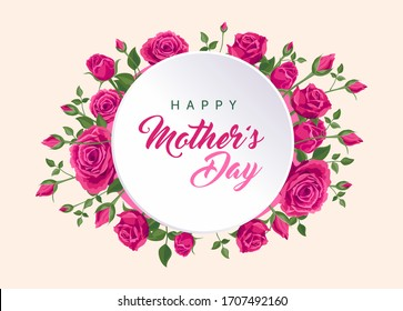 Happy mother's day banner. Vector greeting card for social media, online stores, poster, flyer. Handwritten text of happy mother's day. A vignette of beautiful pink roses, leaves and flower buds