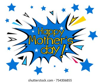 Happy mother's day, Beautiful greeting card poster with comic style