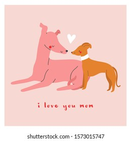 Happy Mother's Day - beautiful vector illustration with two dogs and a heart in cartoon style. Cute greeting card design for Mom.