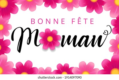 Happy Mothers day - Bonne fete Maman elegant french calligraphy and flower background. Hand drawn vector text and rose on white background for Mother's Day