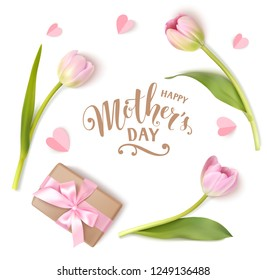 Happy Mothers Day calligraphic lettering text. Holiday background with pink flowers and present isolated on white. Vector illustration