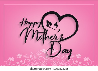 Happy Mother's Day Calligraphy Design With Pint Background vector