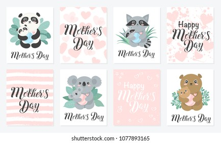 Happy Mother's Day Calligraphy Postcard. Set of Vector cute animal moms (panda, koala, bear, raccoon) with babies in the bushes