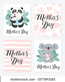 Happy Mother's Day Calligraphy Postcard. Set of Vector cartoon sketch illustrations. Mom panda and coala with babies in the bushes.
